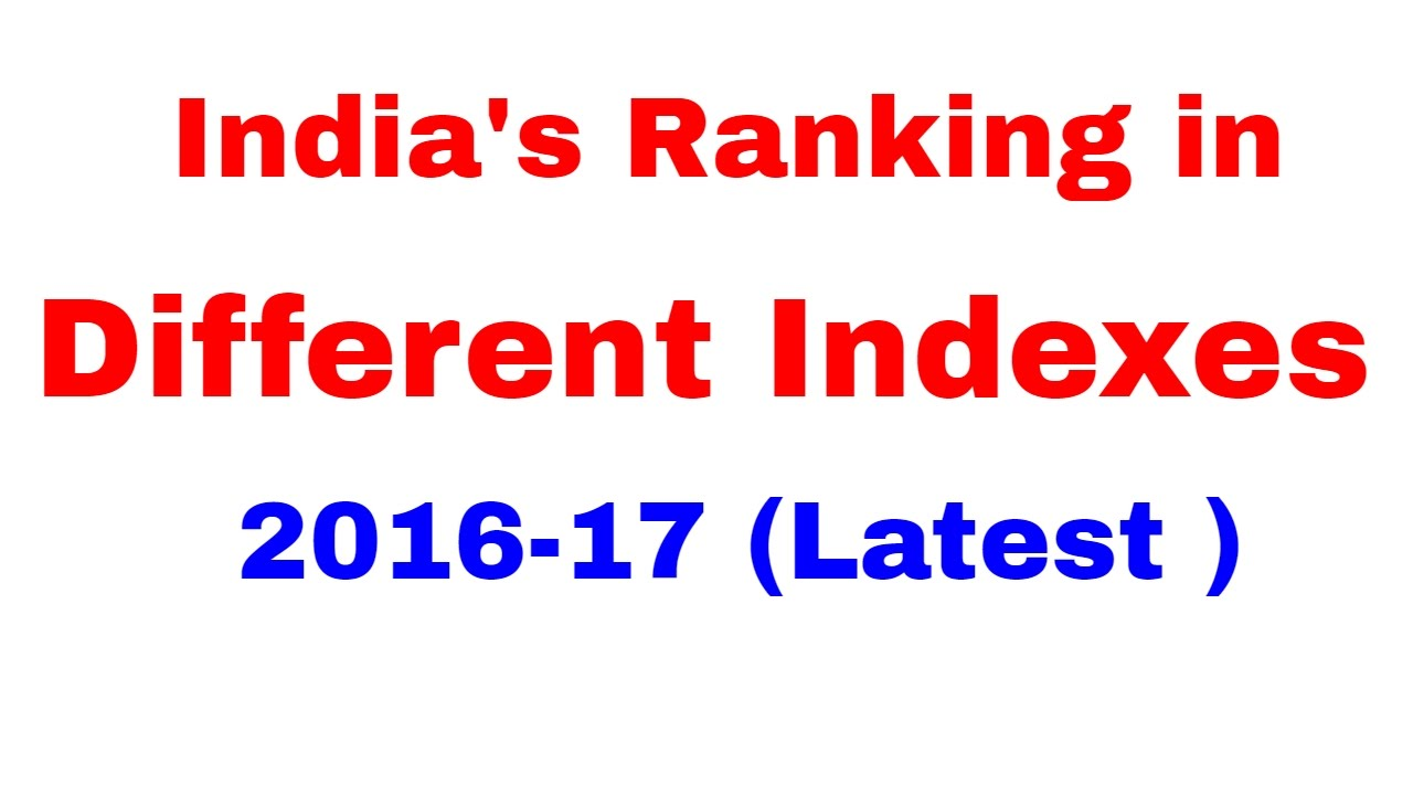 Photo of India's Rankings in Different Indexes 2016-17