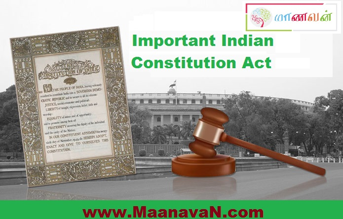 Photo of Important Indian Constitution Act – TNPSC Study Notes
