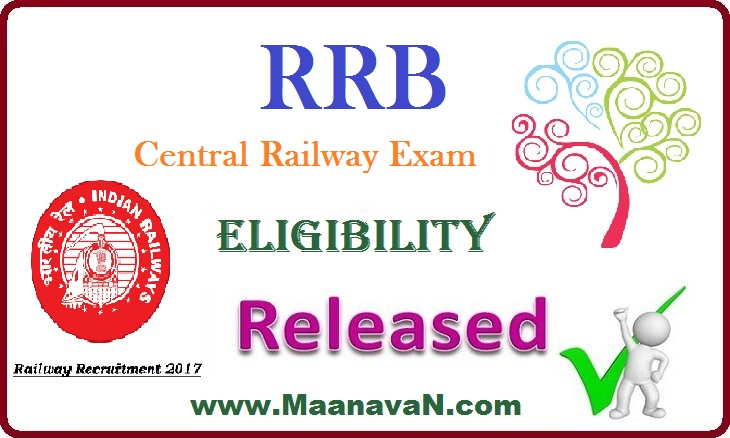 RRB Central Railway Exam Eligibility