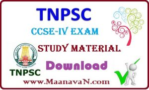 TNPSC CCSE – IV Exam Study Material PDF Free Download
