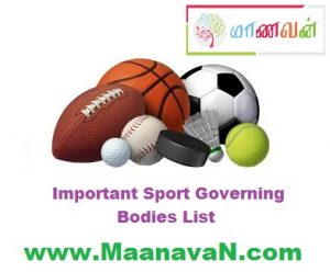 Important Sport Governing Bodies List