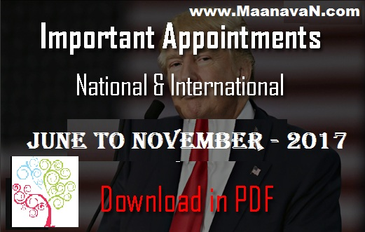 List of Important Appointments 2017