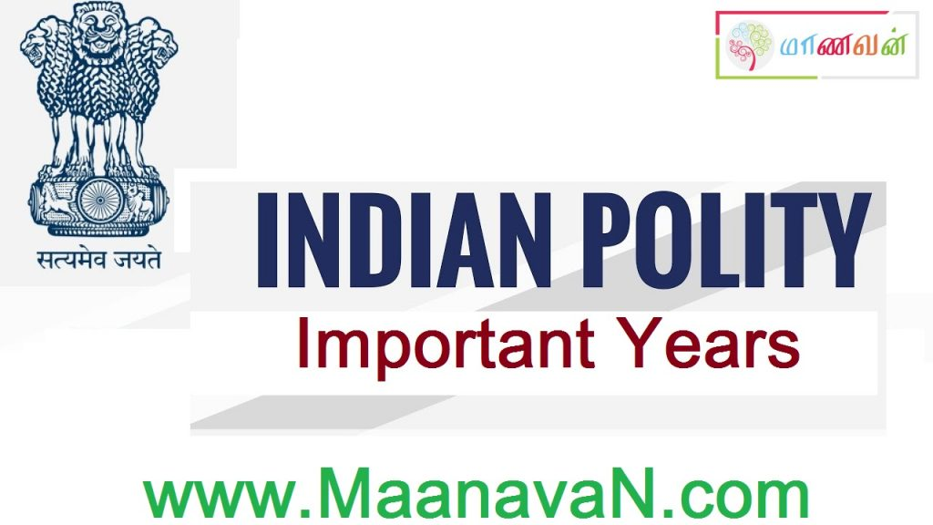 List Of Important Years In Indian Polity
