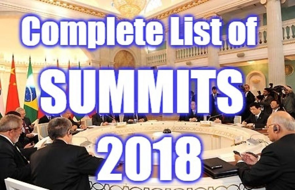 List Of Summits And Conferences In 2018