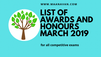 Photo of List Of Awards And Honours March 2019 | Bank Exam Materials