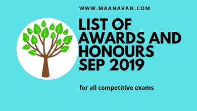 Photo of List Of Awards And Honours September 2019 | Bank Exam Materials