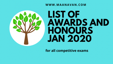 Photo of List Of Awards And Honours January 2020 | Bank Exam Materials